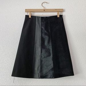 Theory Black Leather and Suede Midi Skirt